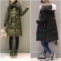 Casual Style Plain Long Oversized Down Jackets