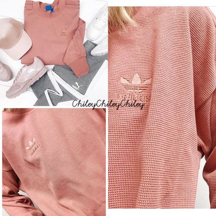 adidas Crew Neck Casual Style Street Style Long Sleeves Cotton