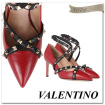 VALENTINO Studded Plain Leather Pin Heels Stiletto Pumps & Mules