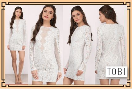 Crew Neck Short Tight Long Sleeves Home Party Ideas Lace