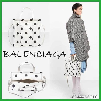 White & Black Polka Dot Calfskin Shopper S Tote