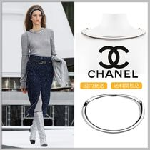 CHANEL 17/18 AW metallic silver thick necklace