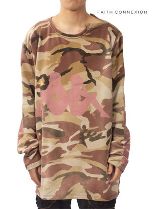Camouflage Street Style Boat Neck Collaboration Long Sleeves