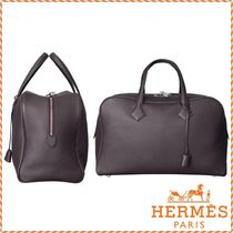 HERMES Victoria Unisex A4 Plain Leather Totes