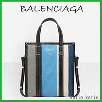 BALENCIAGA BAZAR Blue/Grey Stripe Arena Leather Shopper XS Tote