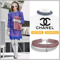 CHANEL Diamonds & crystal strass in pink/blue lambskin necklace