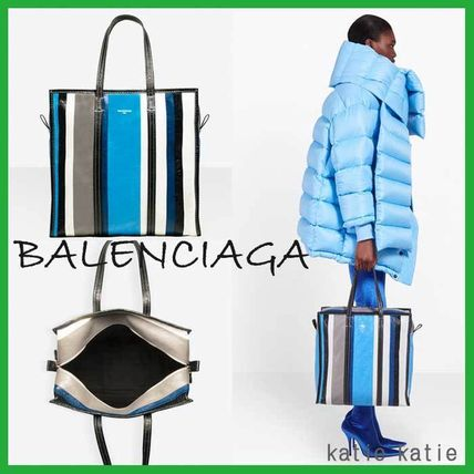 Blue/Black Stripe Arena Leather Shopper M Tote