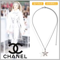 CHANEL 17/18 AW pink diamond in star shape silver necklace