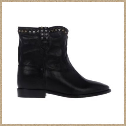 Isabel Marant Round Toe Studded Plain Leather Boots Boots