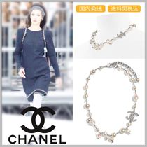 CHANEL 17/18 AW CC logo with crystal pearl necklace
