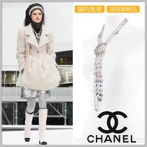 CHANEL 17/18 AW glass pearl & diamond necklace