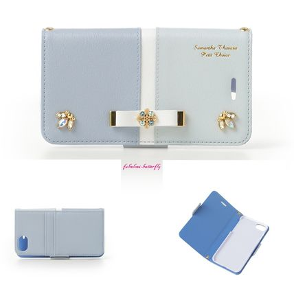 Bi-color Leather With Jewels Smart Phone Cases