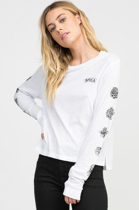 Street Style U-Neck Long Sleeves Cotton Medium