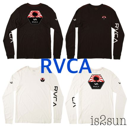 RVCA Long Sleeve Unisex Street Style U-Neck Long Sleeves Plain Cotton