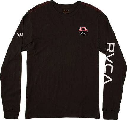 RVCA Long Sleeve Unisex Street Style U-Neck Long Sleeves Plain Cotton 2