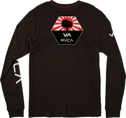 RVCA Long Sleeve Unisex Street Style U-Neck Long Sleeves Plain Cotton 3