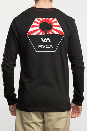 RVCA Long Sleeve Unisex Street Style U-Neck Long Sleeves Plain Cotton 7