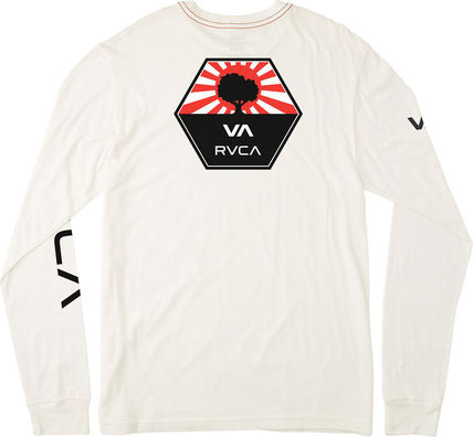 RVCA Long Sleeve Unisex Street Style U-Neck Long Sleeves Plain Cotton 14