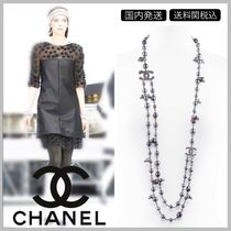 CHANEL Double strand  black & gray pearl with diamond long necklace
