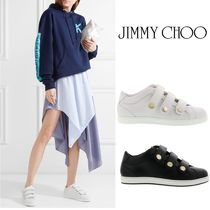 Jimmy Choo Round Toe Rubber Sole Casual Style Studded Plain Leather