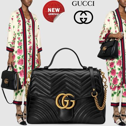 6ac96a47b9f6 GUCCI GG Marmont 2018 Cruise 2WAY Plain Leather Elegant Style ...