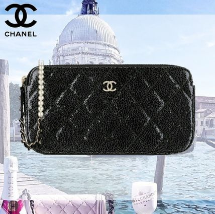 CHANEL Calfskin 2WAY Plain Party Style Luxury Brand Bag Clutches
