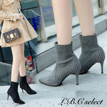 Casual Style Suede Blended Fabrics Plain Pin Heels