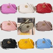 GUCCI GG Marmont Plain Leather Elegant Style Crossbody Shoulder Bags