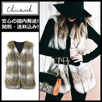 Chicwish Stripes Faux Fur Medium Elegant Style Vest Cardigans