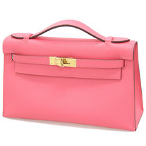 HERMES Kelly Calfskin Plain Party Style Handbags