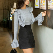 Cable Knit Casual Style U-Neck Long Sleeves Plain Knitwear