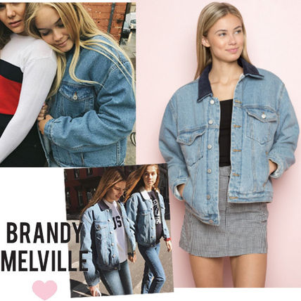 Denim Street Style Bi-color Plain Medium Denim Jackets