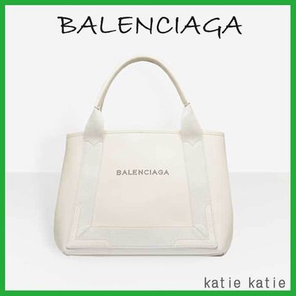 White Leather Navy Cabas S Tote