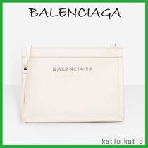 BALENCIAGA White Leather Navy Clutch With Perforated Logo