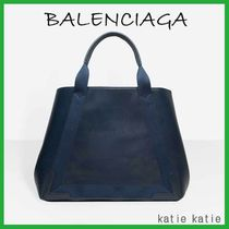 BALENCIAGA NAVY Bleu Obscur (Deep Blue) Leather Navy Cabas M Tote