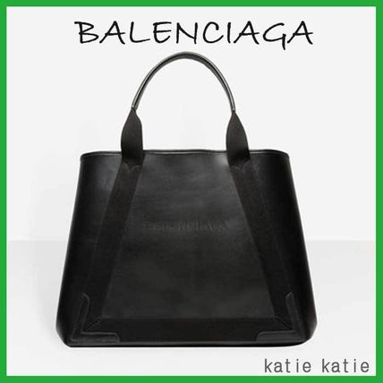 Black Leather Navy Cabas M Tote
