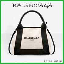 BALENCIAGA NAVY Off-White/Black Navy Cabas XS Bag With Shoulder Strap