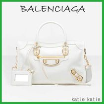 BALENCIAGA CITY White Goatskin Classic Metallic Edge S Handbag