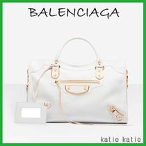 BALENCIAGA CITY White Goatskin Classic Metallic Edge Handbag