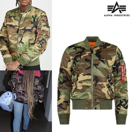 cheap for discount f74ac 346f7 ALPHA INDUSTRIES 2018-19AW Short Camouflage Street Style MA-1 Bomber Jackets