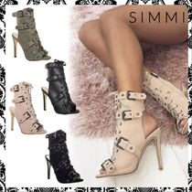 SIMMI Open Toe Lace-up Casual Style Suede Plain Pin Heels