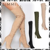 SIMMI Suede Plain Pin Heels Over-the-Knee Boots
