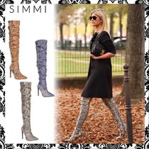 SIMMI Casual Style Faux Fur Pin Heels Python Over-the-Knee Boots