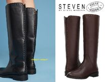 Steve Madden Round Toe Plain Leather Block Heels Flat Boots