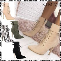 SIMMI Lace-up Casual Style Suede Plain Pin Heels Python