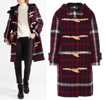 Burberry Other Check Patterns Casual Style Medium Duffle Coats
