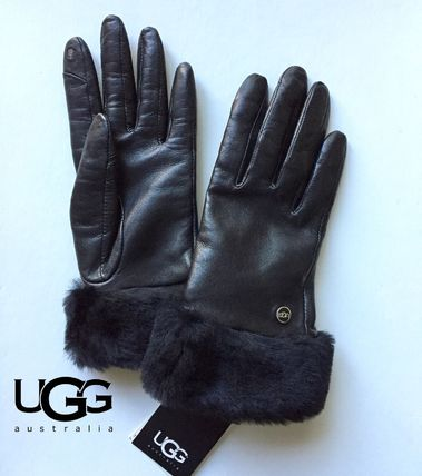 UGG Australia Casual Style Plain Leather Leather & Faux Leather Gloves