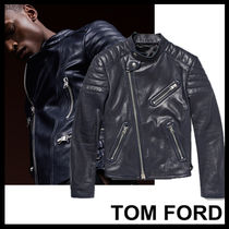 TOM FORD Short Plain Leather Biker Jackets