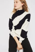 TOPSHOP Stripes Casual Style Bi-color Long Sleeves Medium High-Neck