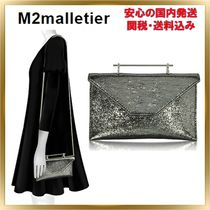M2MALLETIER 2WAY Chain Plain Party Style Crossbody Clutches